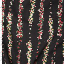 Red and Green Floral Stripes on Black Rayon Gauze