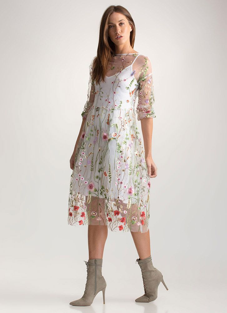 2e4fd3113ab19 Floral Aura Sheer Embroidered Dress GoJane.com | Dresses<3 | Sheer ...