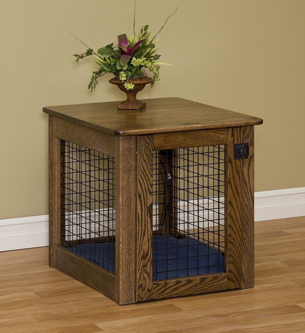 Furniture Amusing Dog Crate End Table Ideas With Wood