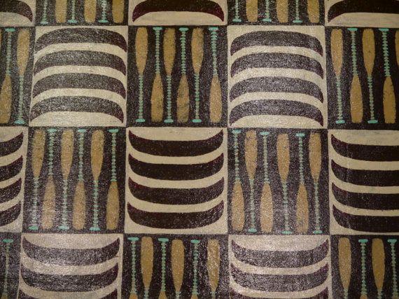 Original Hand Painted Canoe patterned floor cloth art di SWBSTUDIO, $22.00
