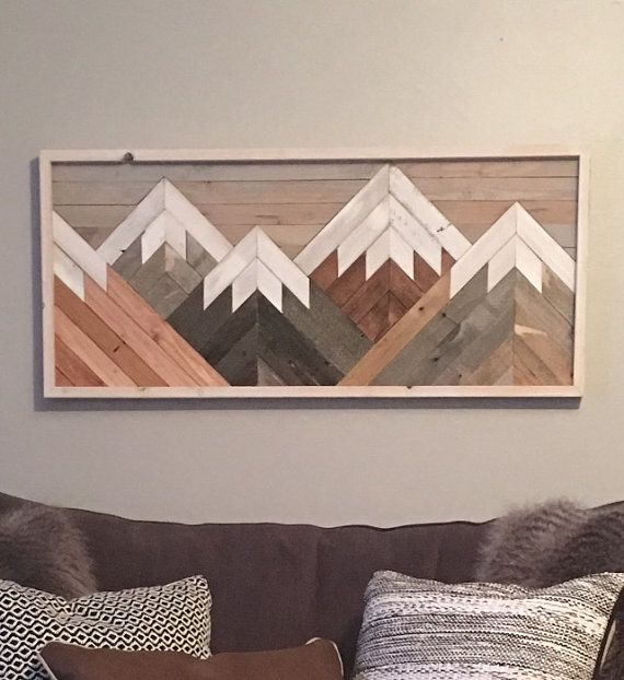 Reclaimed Rustic Wood Wall Art Mountain , Scene, Mantel Art , Cabin Decor, Rustic Style, Cozy, Over Sized Wooden Mural, Natural Wood Stained #reclaimedwoodwallart