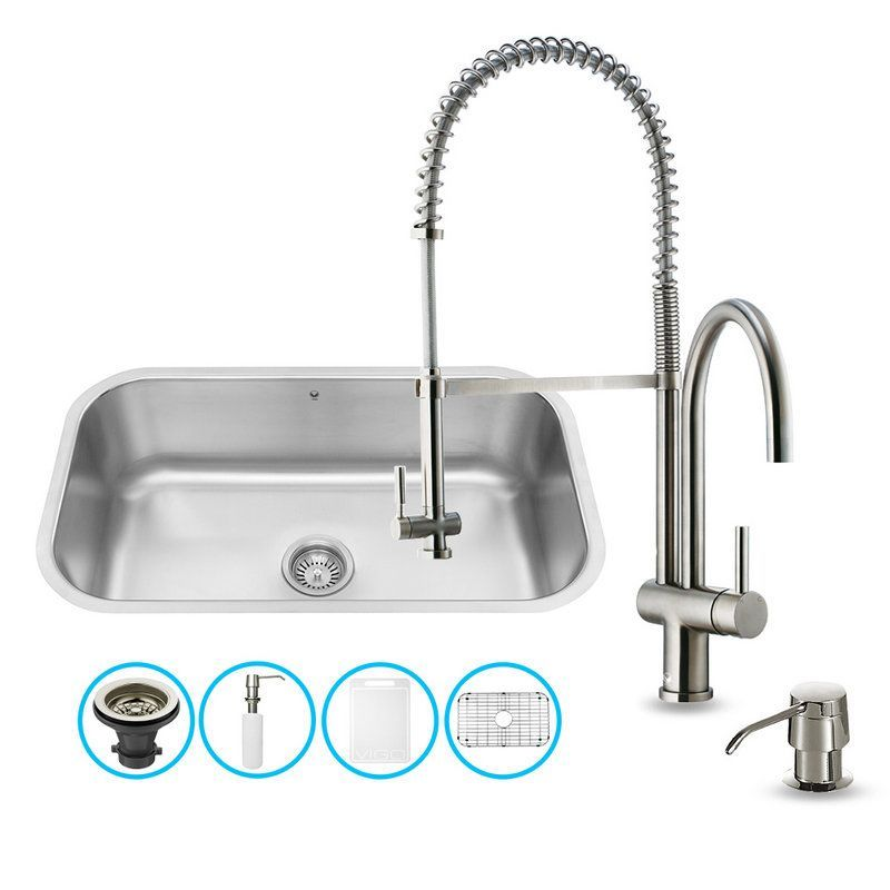 """Vigo VG15281 30"""" Single Basin Deck Mounted Kitchen Sink with VG02006 Stainless S Stainless Steel Fixture Kitchen Sink Combination"""