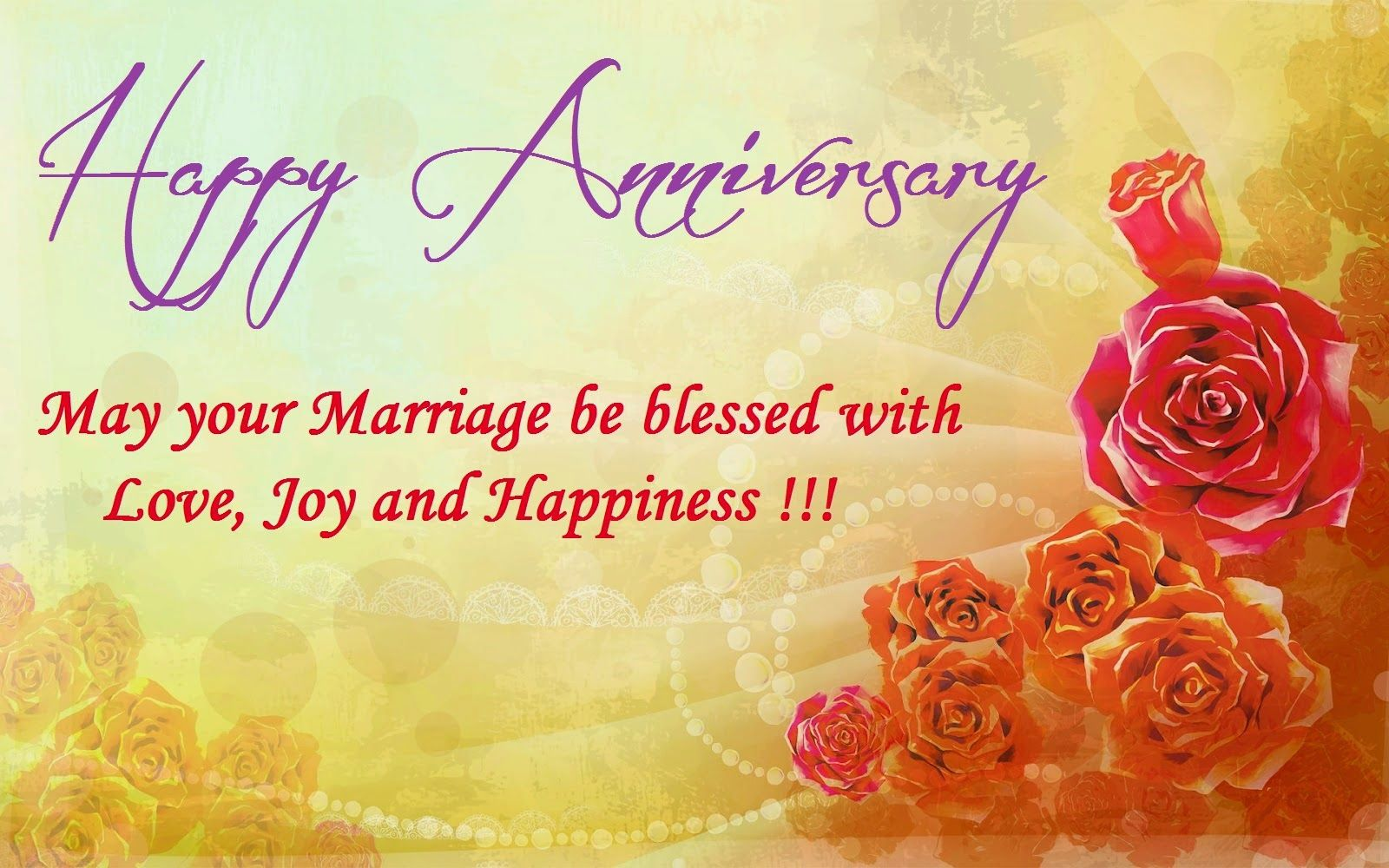 Wedding Anniversary greetings for wife, husband or couple