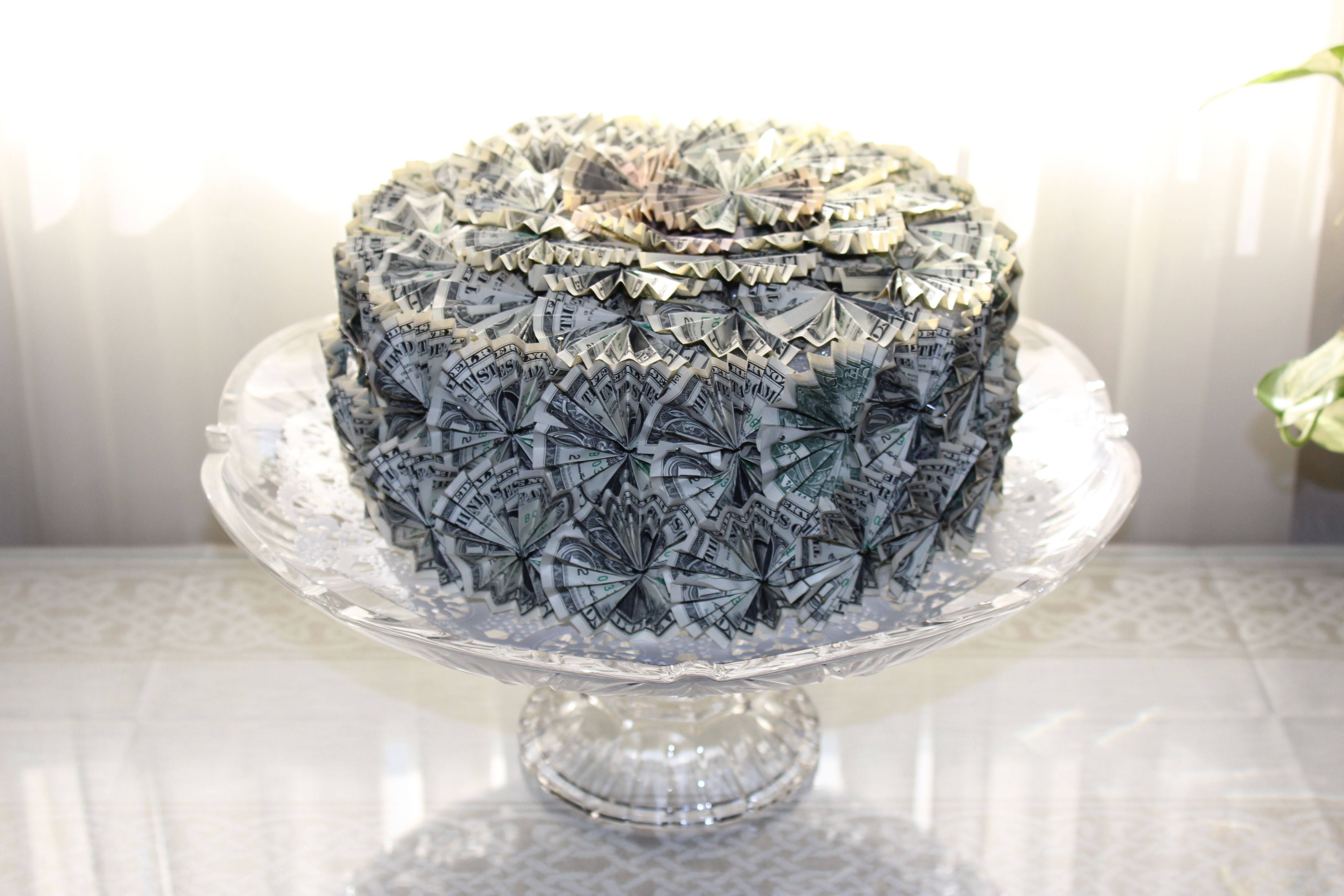 Money Cake Made From Folded One Dollar Bills Pinned Onto A