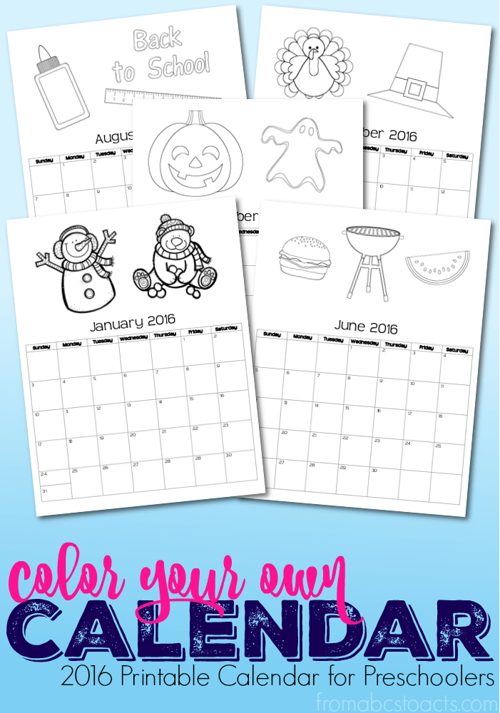 Calendar Preschool Crafts : Printable calendar coloring book for preschoolers