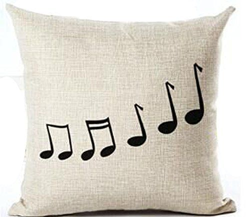 Music Theme Simple Piano Black Musical Notes Cotton Linen...