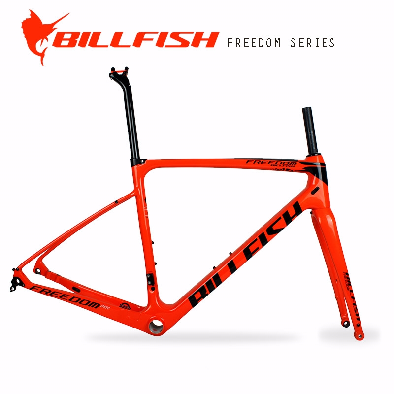 798.00$  Watch now - http://ali7gu.worldwells.pw/go.php?t=32718935774 - BILLFISH rack fender usable full Carbon gravel Bike Frame set  flat Disc brake design Size 54cm cyclocross axle thru road Frame 798.00$
