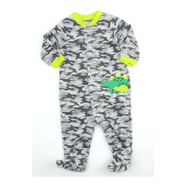 Infant Boys Fleece Sleepers In Grey Camo Print With Dinosaur By Carters In Size 3 6 Months 4 25 Baby Sleepers Baby Clothes Online Boys Fleece
