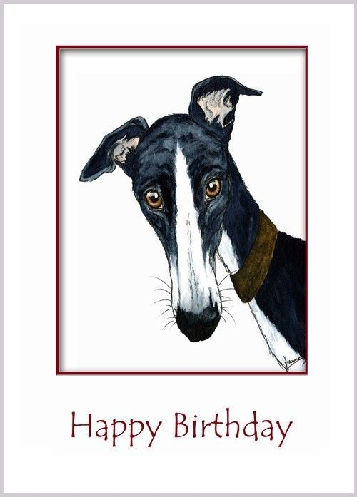 Large Art Greeting Card Greyhound Lurcher Whippet Dog Birthday 5384
