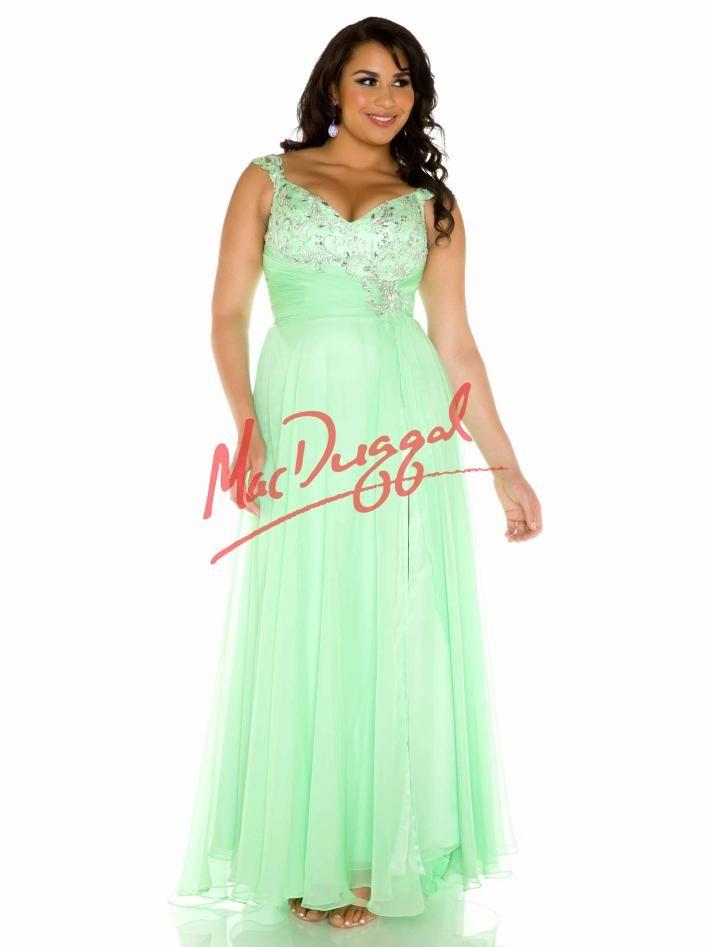 Key Lime Green Prom Dress | Plus Size Prom Gown | Mac Duggal 65041F ...