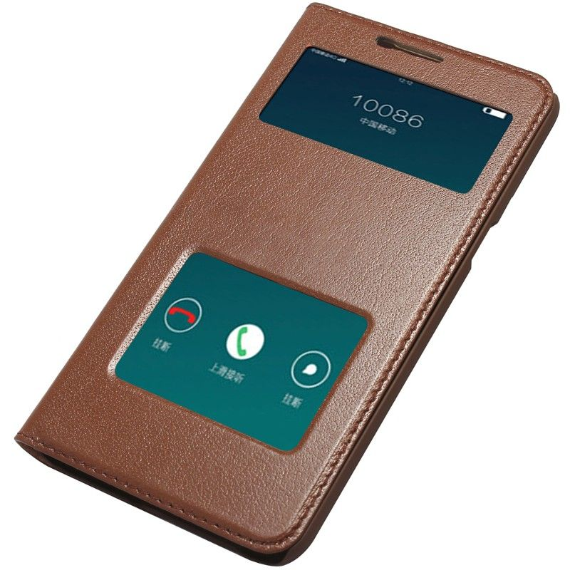 new style ea1f9 45a7a Luxury Genuine Leather Window View Flip Smart Cover Case for OPPO F1 ...