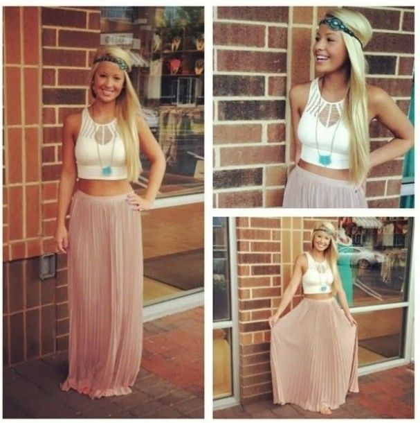Skirt: top, crop tops, maxi skirt, maxi dress, summer, white, taupe, summer dress, outfit, pleated, pleated skirt, chiffon, chiffon skirt, shirt, hat, maxi skirt, crop top, necklace - Wheretoget