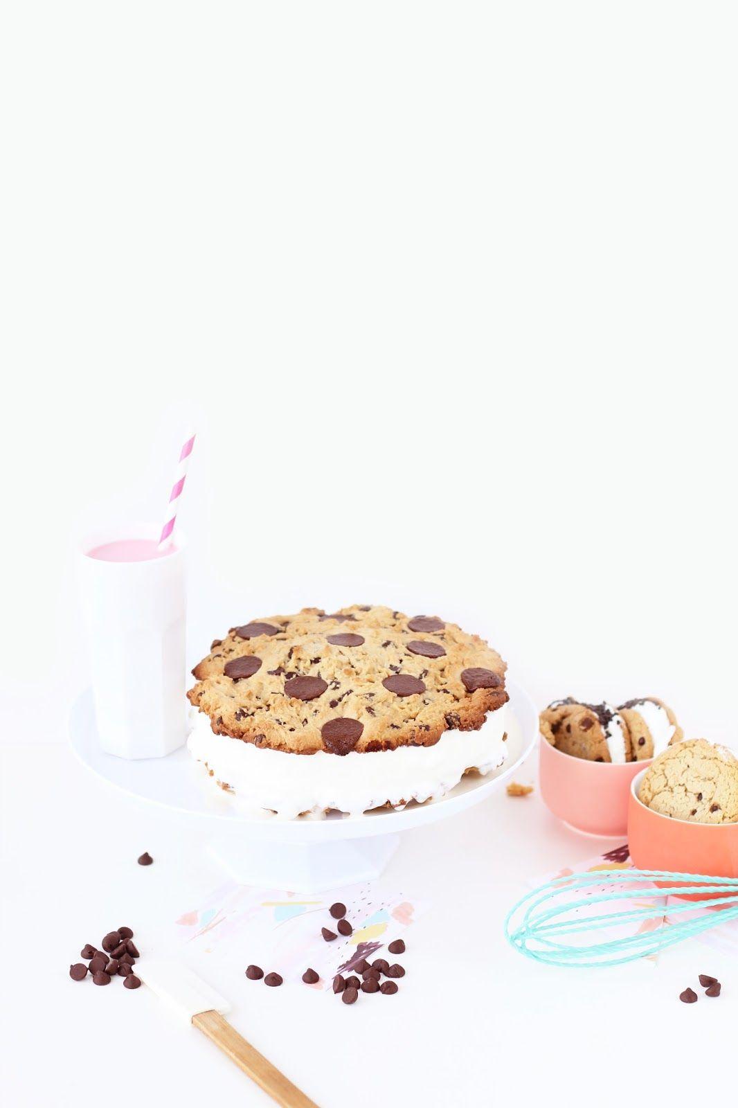 Giant Chocolate Chip Cookie Ice Cream Sandwich Cake