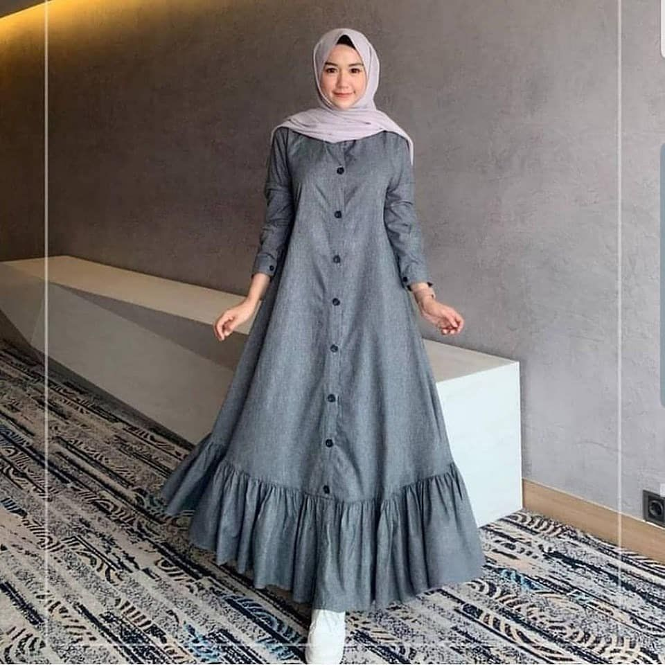 Model Baju Gamis Warna Silver