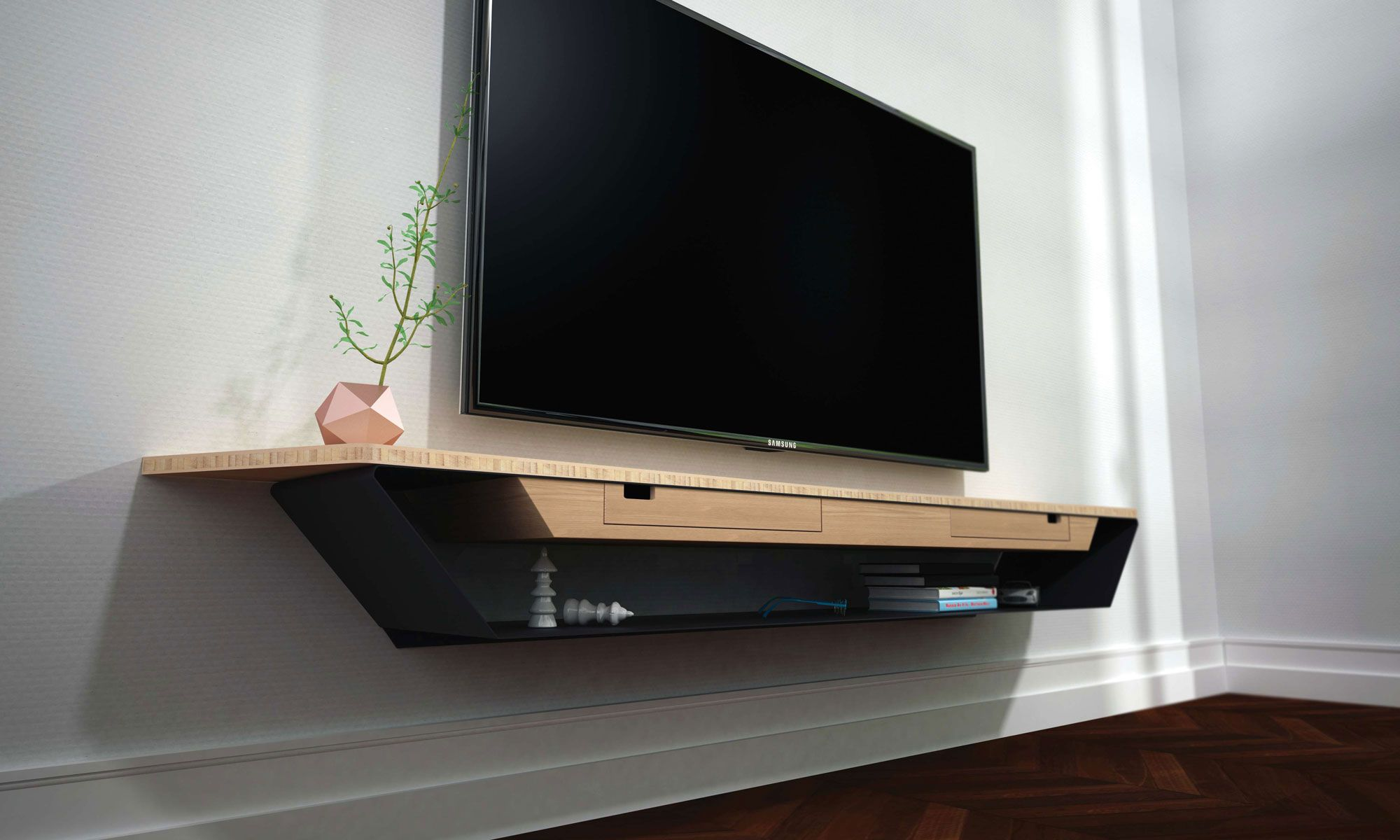 Meuble Tv Blanc Suspendu Alinea Pin Meuble Tv Design Suspendu  # Amenagement Tele Meuble Suspendu