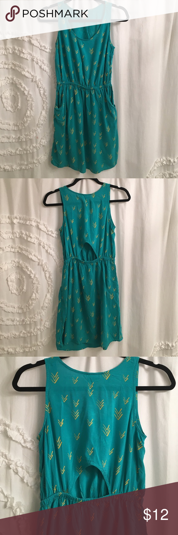 Mossimo teal arrow detail dress with cutout casual summer dresses