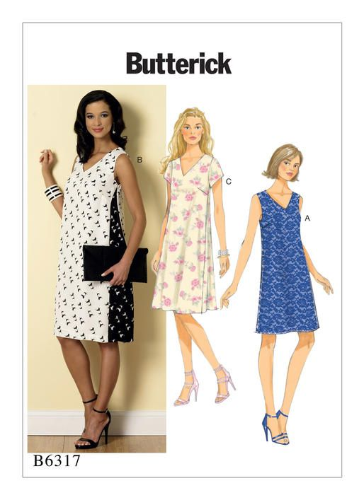 B6317 | Misses\' Pullover V-Neck Dresses Sewing Pattern | Butterick ...