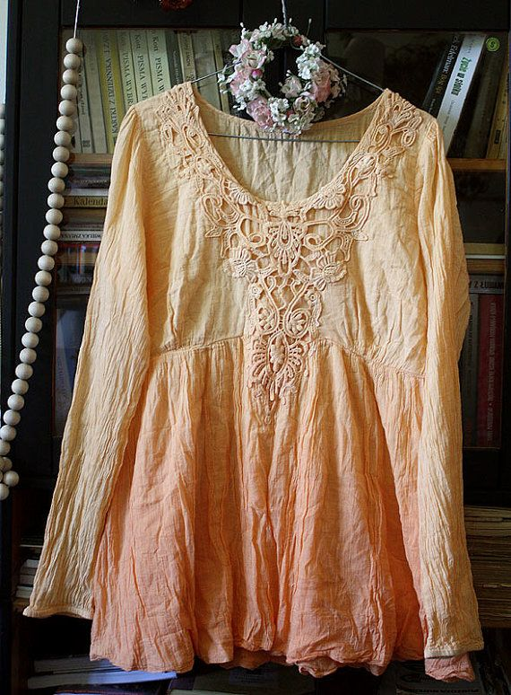 Vintage soft pale orange tunic dress lace by GreenHouseGallery