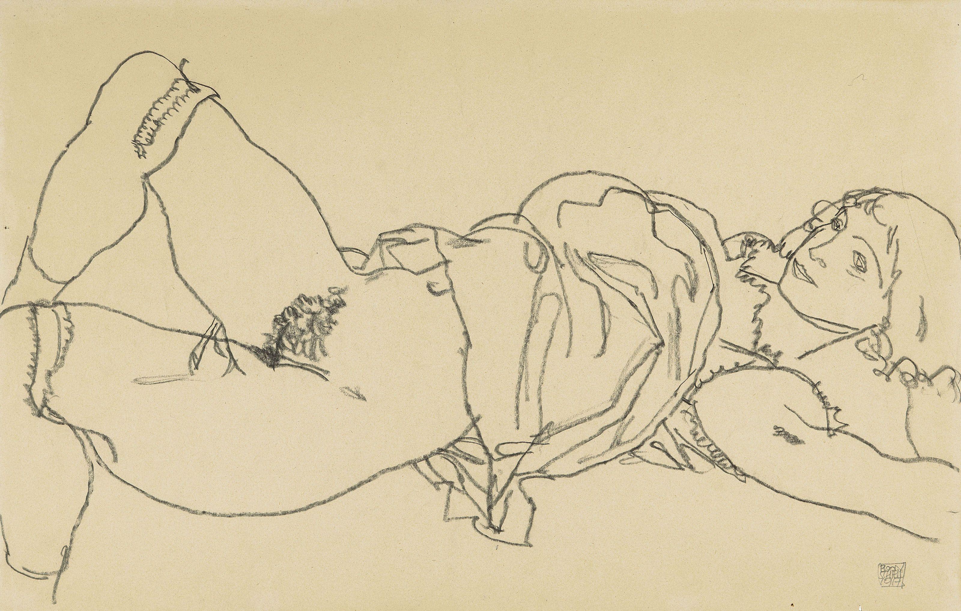 Egon Schiele 1890 1918 Liegender Madchenakt Nach Rechts In