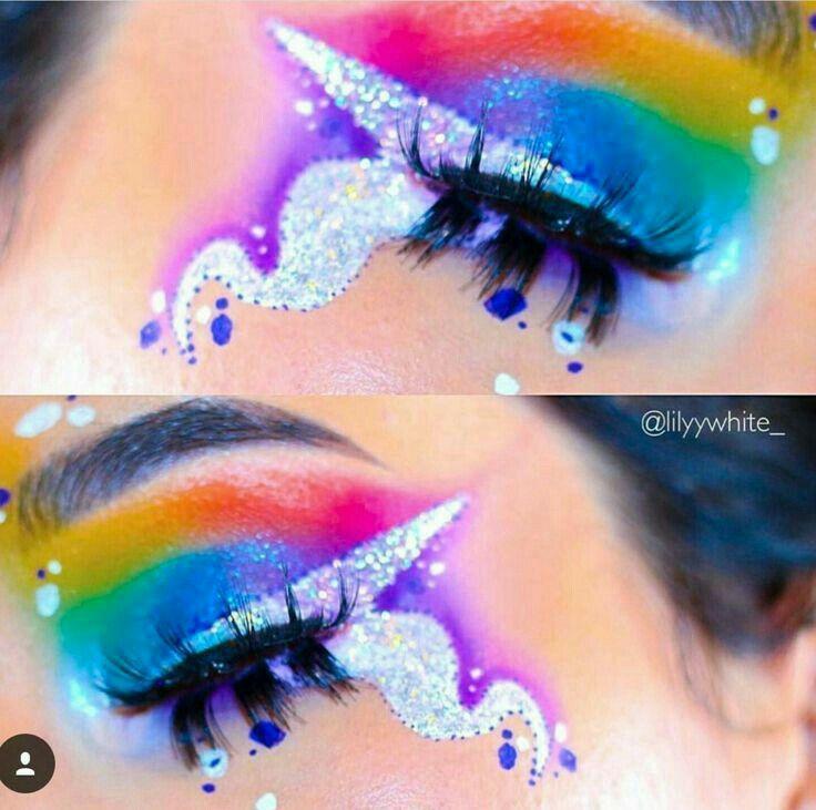 Beautiful Rainbow Unicorn Halloween Makeup Unicorn Makeup Halloween