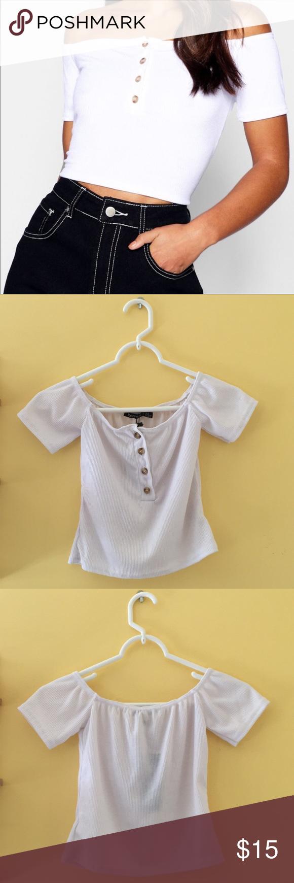 d69935c4d93c9d Boohoo Petite White Bardot Crop Top New w tags Comfortable