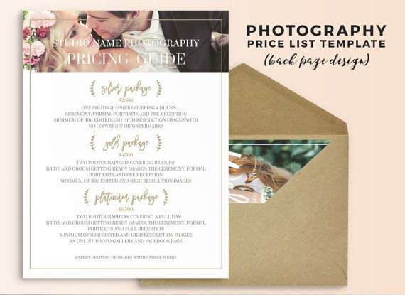 Photography Price List Template - Wedding Photography Pricing Guide - Price Sheet Template