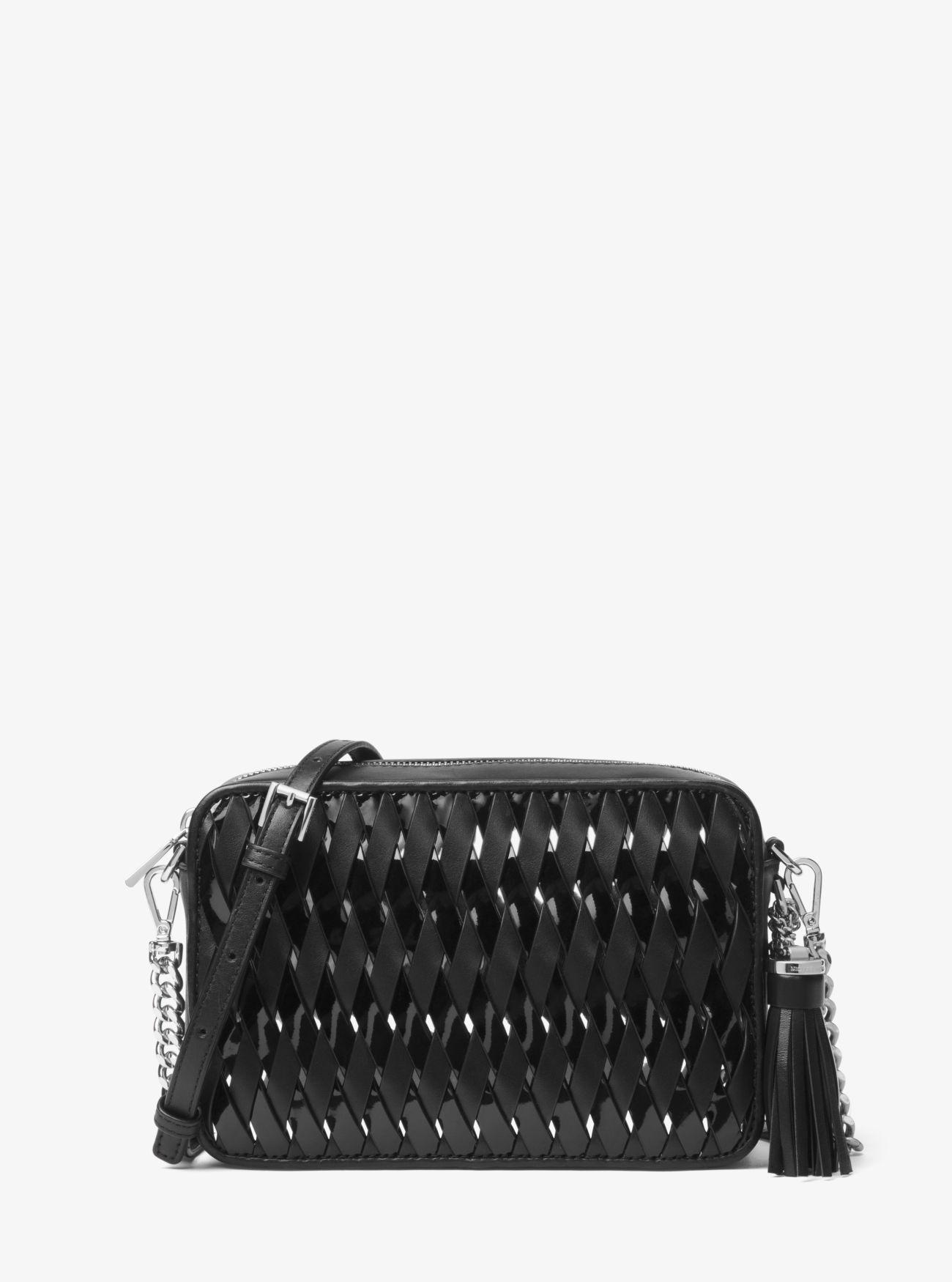 6e8330494e54 Buy Michael Kors Black Ginny Woven Leather Crossbody Store