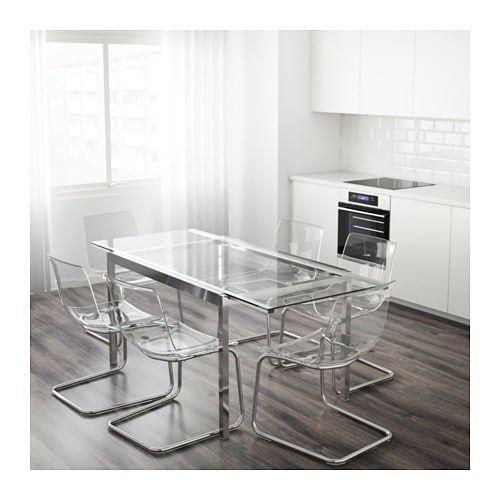 Tavolo Vetro E Acciaio Ikea.Glivarp Tavolo Allungabile Trasparente Cromato 125 188x85 Cm