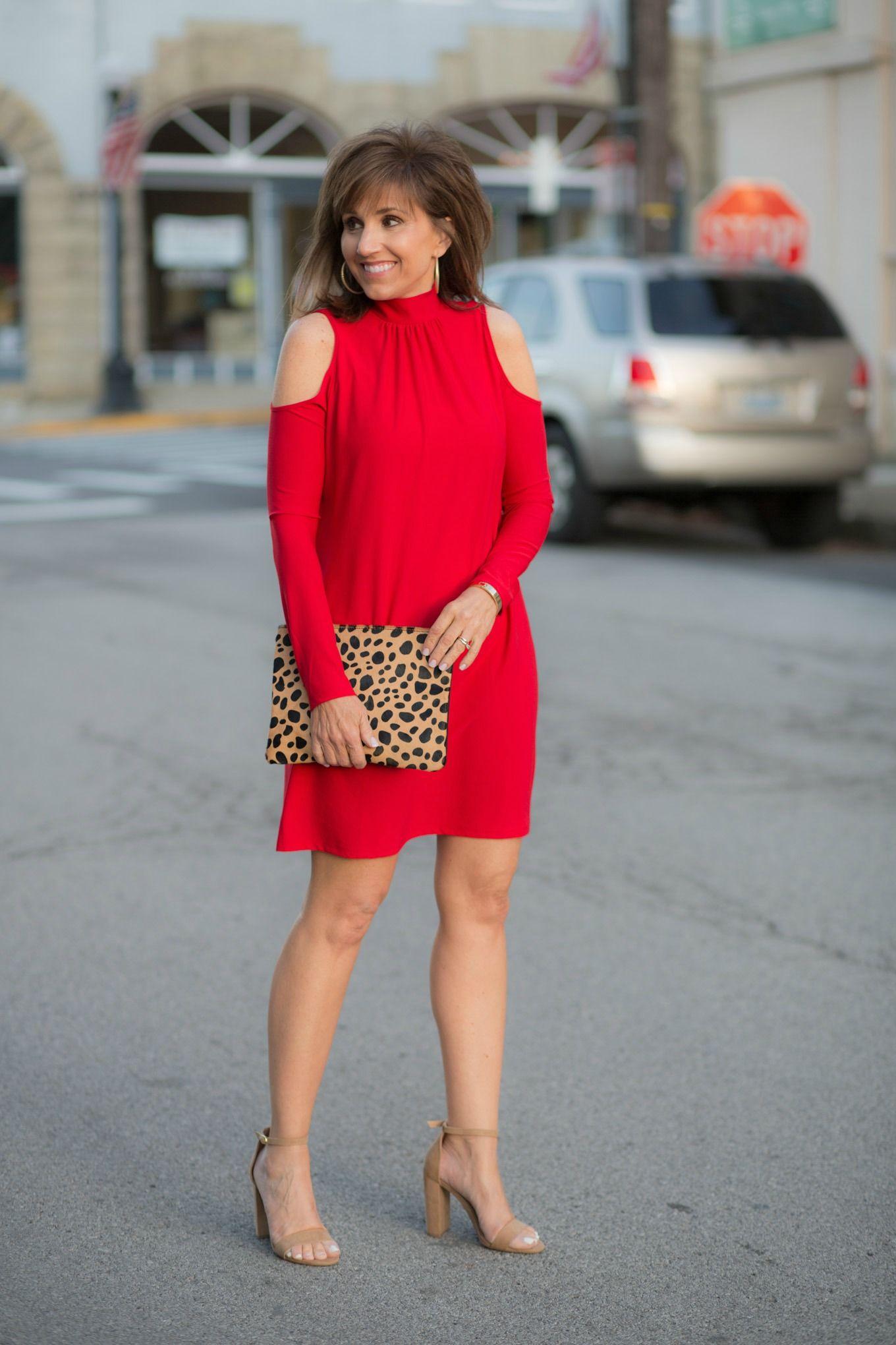 Cold Shoulder Dress Under 40 Block Heel Leopard Clutch Cyndi Spivey Cold Shoulder Dress Shoulder Dress Block Heels Outfit [ 2040 x 1360 Pixel ]