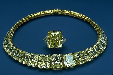 Hooker Diamond Rivière Necklace set with fifty starburst-cut fancy yellow diamonds