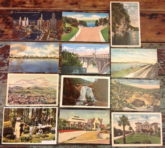 12 Assorted Vintage Postcards Chicago Cedar By