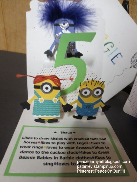 Punched minions on 5th Birthday card for granddaughters. Used the StampinUp Pop 'n Cuts by Karen Burniston