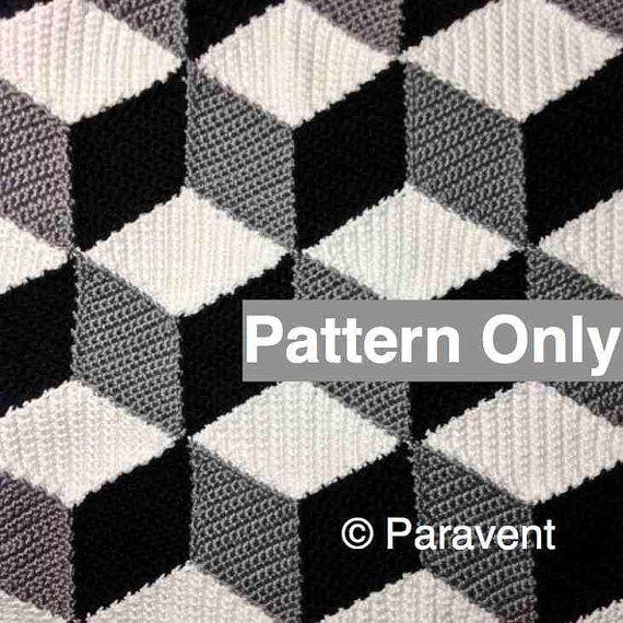 Isométrica patrón manta / afgano de ganchillo por Paravent en Etsy ...