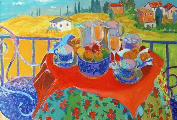 Ireland, William  : Tuscan Terrace (oil on boa...