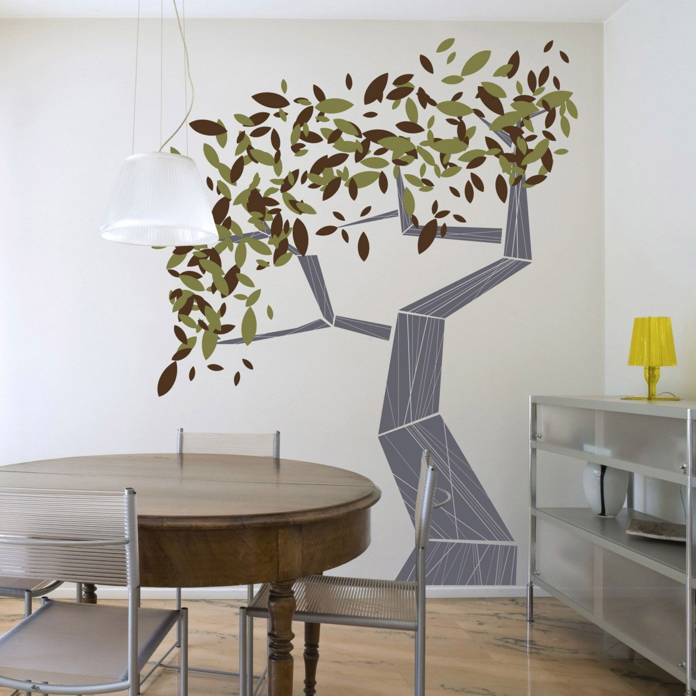Bedroom Ideas Cool Wall Stickers Of Pop Art Tree On White Paint Wall And Cherry Wood Floor Simply Cool Tree Wall Painting Tree Wall Decor Bedroom Wall Designs