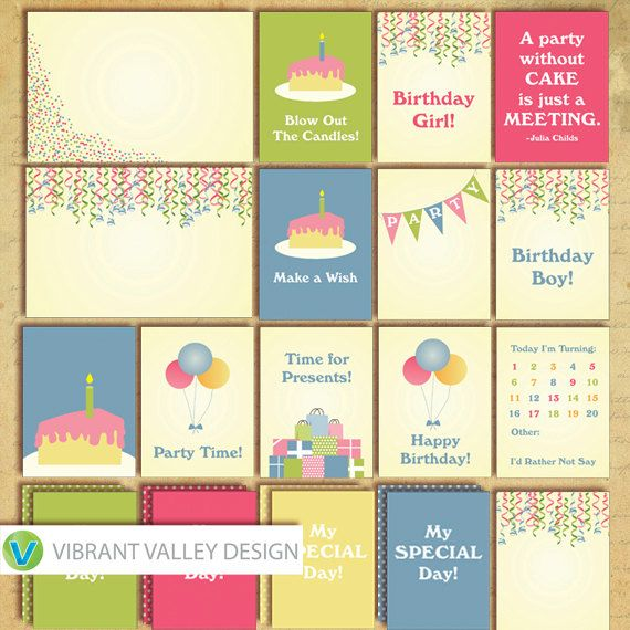 Birthday Journaling Cards Project Life Inspired by VibrantValley - birthday cards free download printable