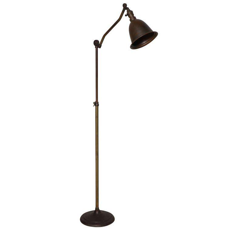 C. 1920u0027s Weldon Industrial Articulating Brass Floor L& with Cast Iron Base 1  sc 1 st  Pinterest & Weldon Industrial Articulating Brass Floor Lamp with Cast Iron Base ...