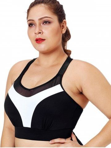 Racerback Color Block Plus Size Workout Bra