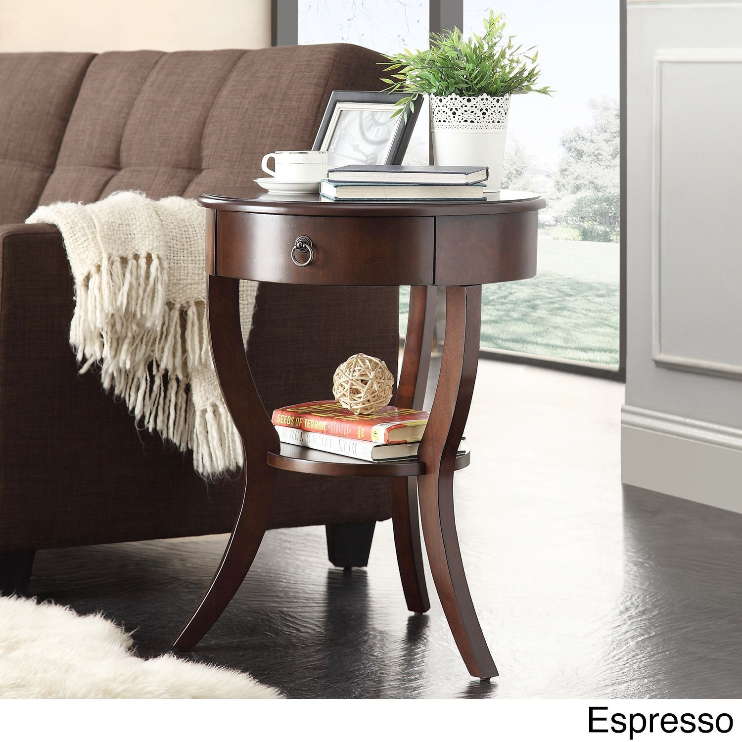 Burkhardt Tripod Round Wood Accent Table by Inspire Q (Espresso), Brown,  Size