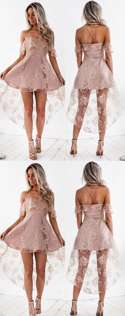 High Fashion A-Line Lace Off-Shoulder High Low Short Homecoming Dress from DestinyDress