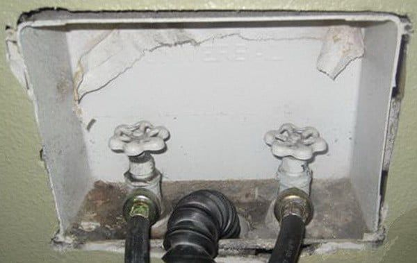 How To Fix A Leaking Washing Machine On Off Water Valve Behind Washer Water Valves Washer Hoses Washer
