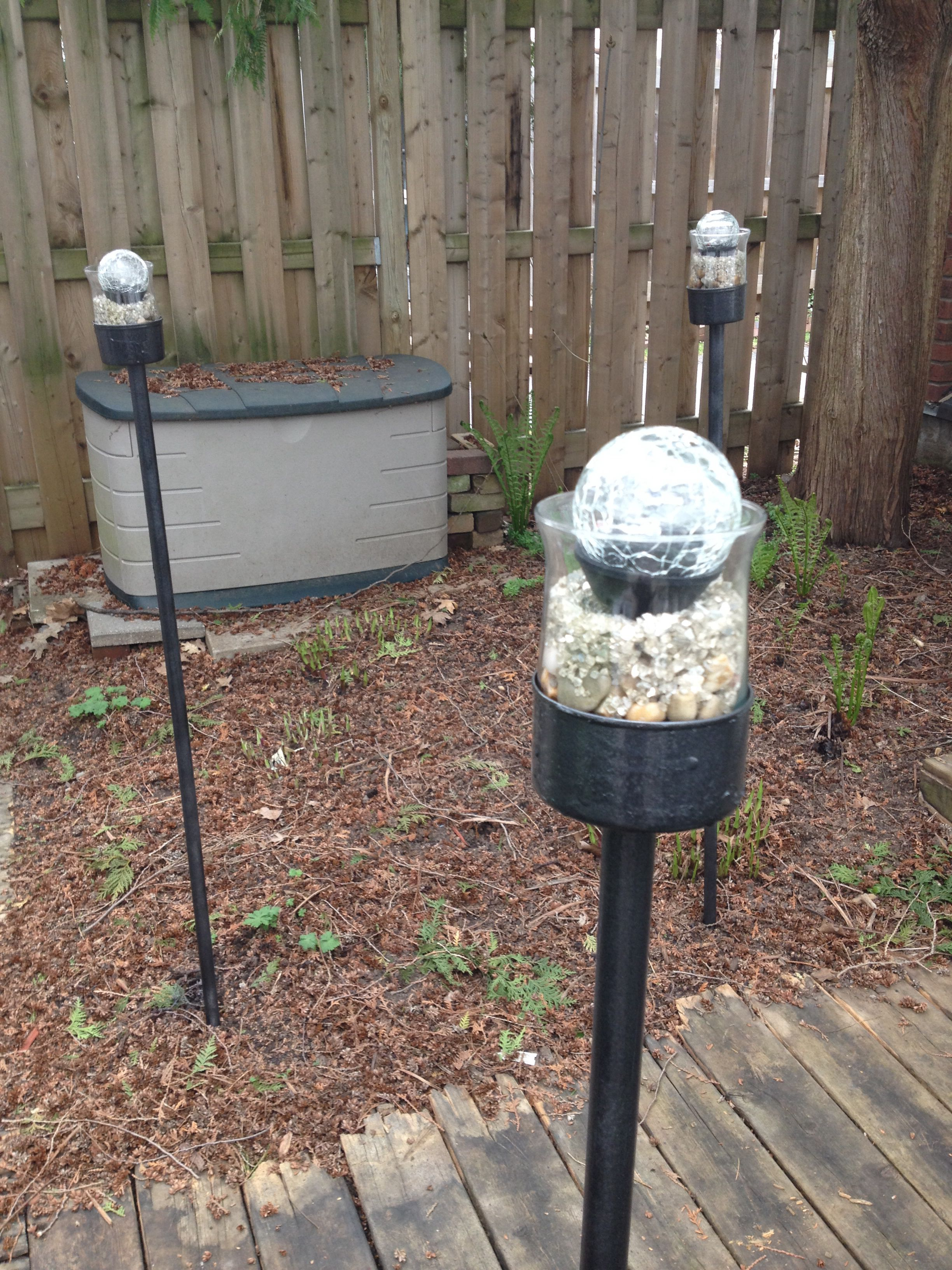 Dowels Tuna Cans Dollar Store Gl Es Decorative Fillers Solar Lights And Spray Paint Awesome Backyard Lighting