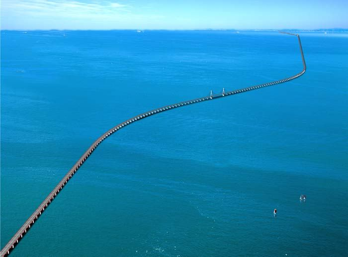 Donghai Bridge is the result of the strong work ethic of the Chinese people. The bridge, built over the sea, is 20 miles long and considered one of the longest cross sea bridges in the world. It was officially completed in December 2005. The bridge connects Shanghai with offshore Yangshan, a deep-water port.