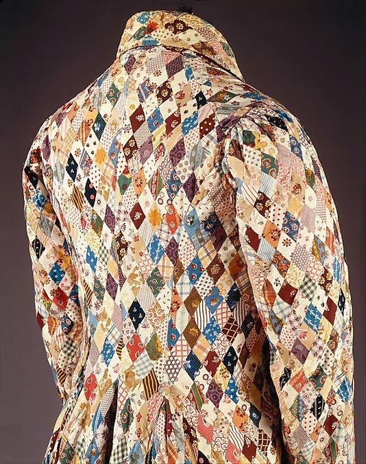 Patchwork Dressing Gown, 1825, tiny hand worked stitches of roller pattern prints, The Met