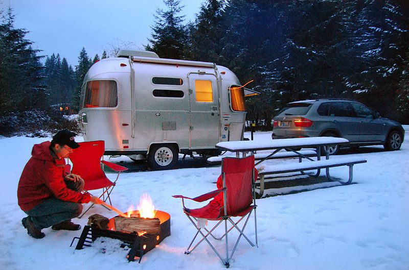 Winter Camping Cozy Airstream Camping Tent Camping