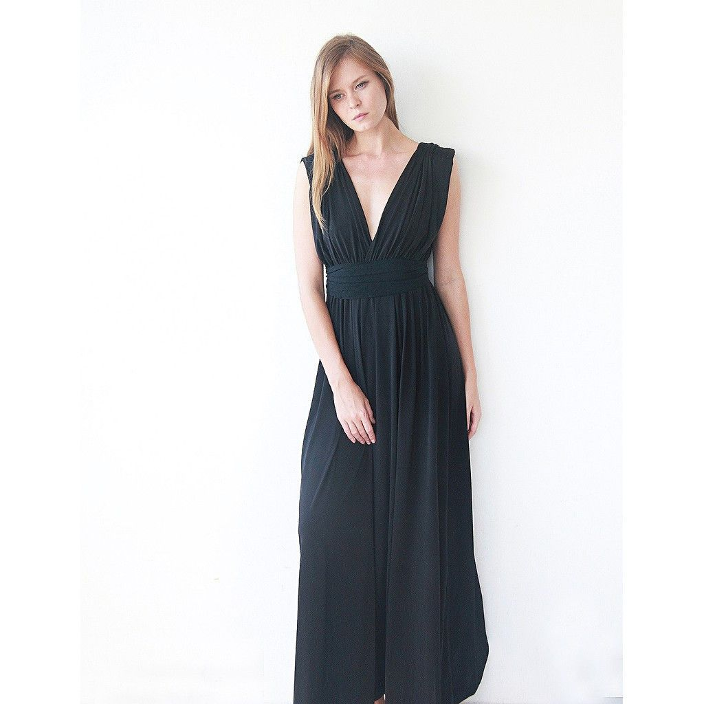 Black maxi dress floor length gown classic formal black dress