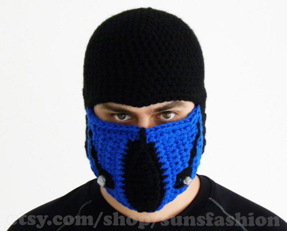 Sub Zero Mortal Kombat Mask Crochet Hat Mens Winter Snowboard