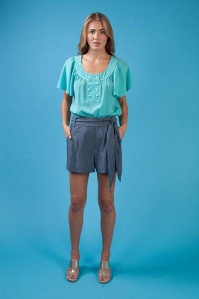 $172 Annie Griffin Chambray Shorts