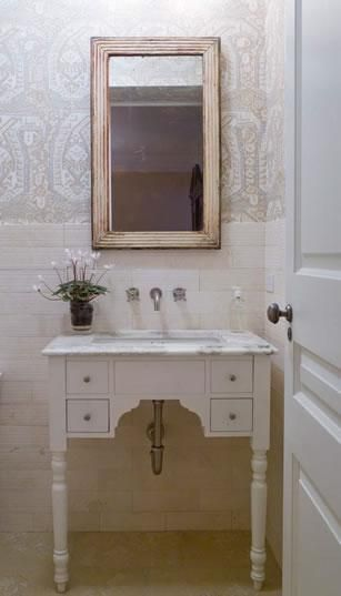 Suzie Phoebe Howard Cottage Bathroom Design With White Vintage Vanity Marble