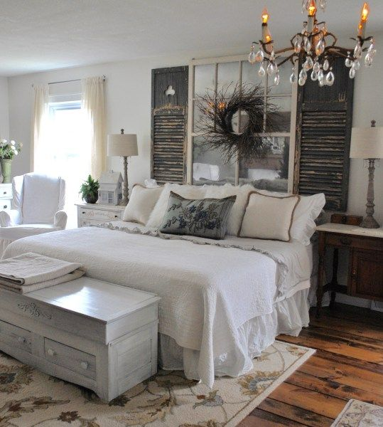 Master bedroom reveal repurposed shutters for head board - Shutters for decoration interior ...